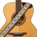 """Amumu Hootenanny Embroidery Guitar Strap Yellow Cotton for Acoustic, Electric and Bass Guitars with Strap Blocks & Headstock Strap Tie - 2"""" Wide"""