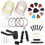 50 PCS Guitar Accessory Kit, Bosunny Acoustic Guitar Parts Replacement Kit, Guitar Strings, Guitar Picks,Picks Box, Hanger, 3 in 1 guitar string winder cutter and pin puller, Pins and Bone Bridge