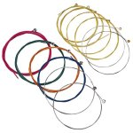 Bememo 2 Sets of 6 Guitar Strings Replacement Steel String for Acoustic Guitar (1 Yellow Set and 1 Multicolor Set)