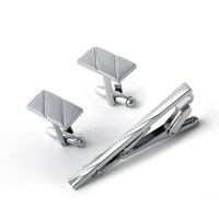 Men Metal Necktie Tie Bar Clasp Clip Cufflinks Set Silver