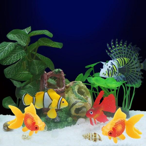 3pcs Aquarium Fish Tank Plastic Swimming Faux Gold