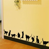 Black Cat Play Room Decor Removable Decal Vinyl Mural Art ...