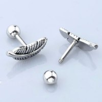 2x Stainless Steel Feather Cartilage Helix Tragus Barbell