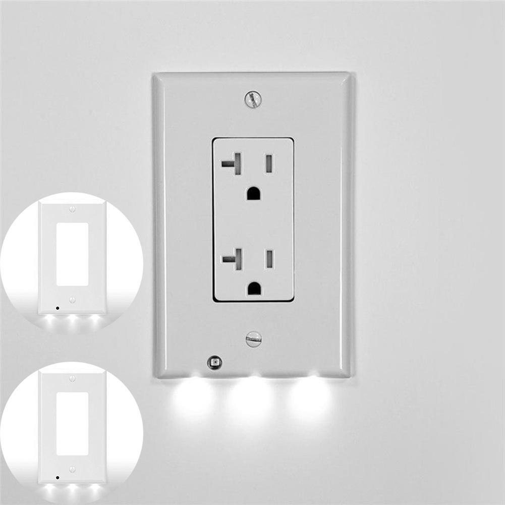 Bathroom Light With Outlet Details About Wall Outlet Cover Plate Plug Cover Led Lights Hallway Bathroom Safty Light 3 Led
