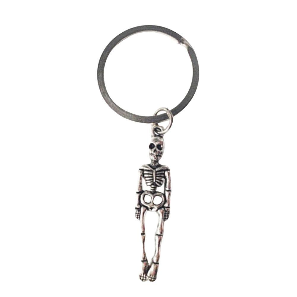 Cool Antique Silver Metal Skeleton Pendant Key chain Car
