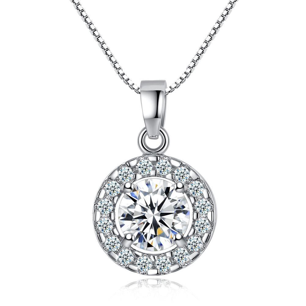 Dainty Cubic Zirconia Round Halo Necklace & Stud Earrings