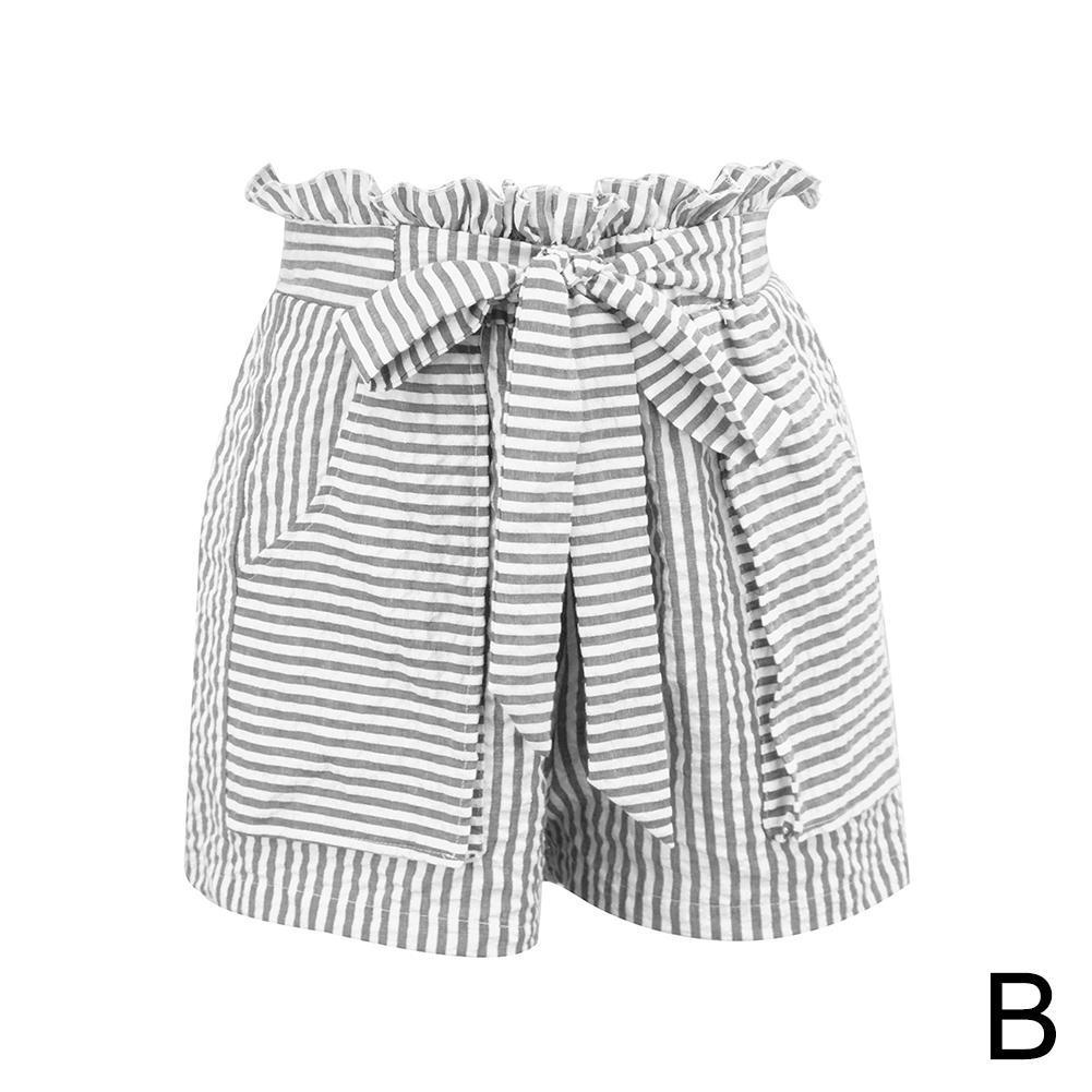 Women Girl Shorts Short Pants Workout Beach Casual Striped