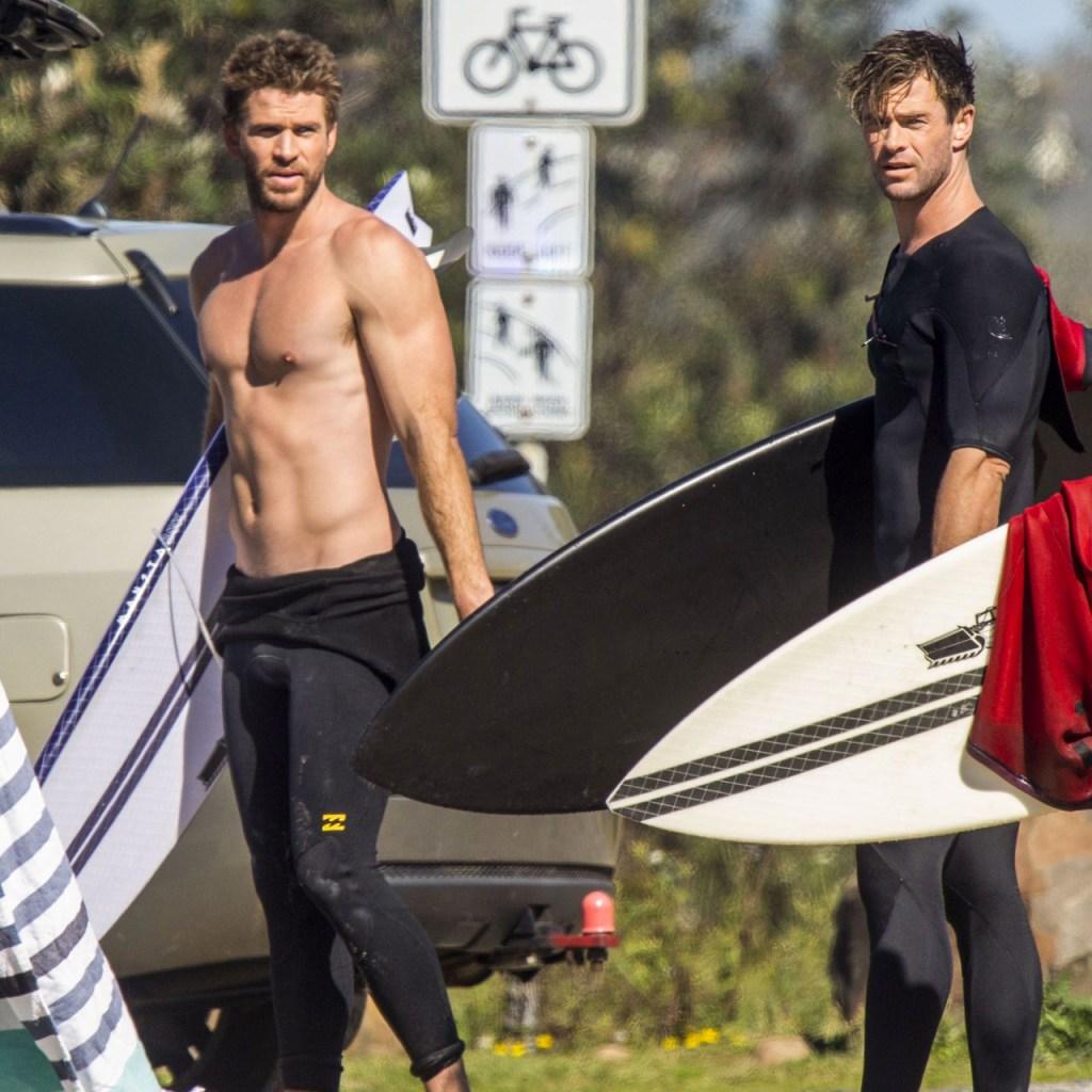 Liam y Chris Hemsworth llevaron sus abs a surfear (gracias por existir)