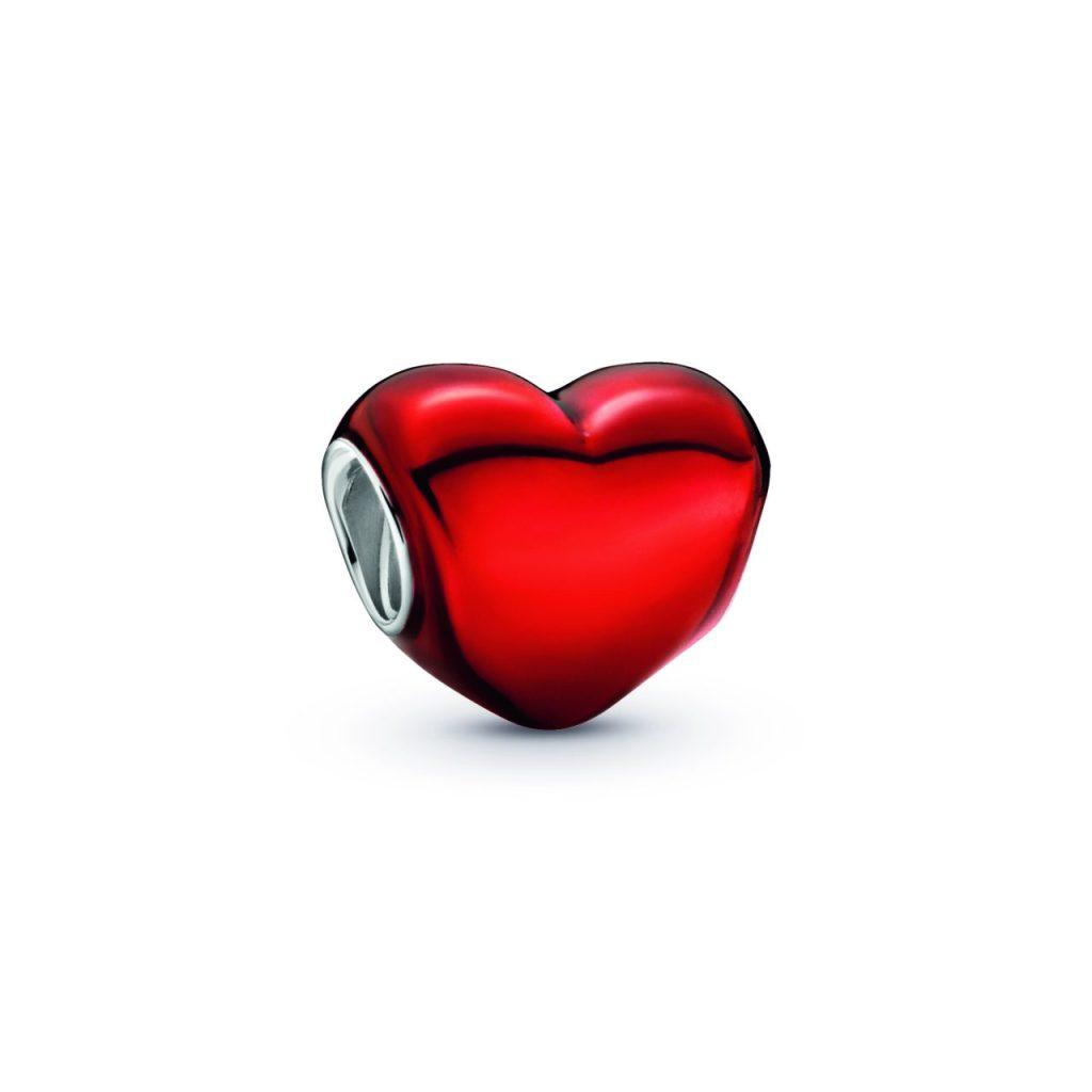 Charm de corazón rojo metálico
