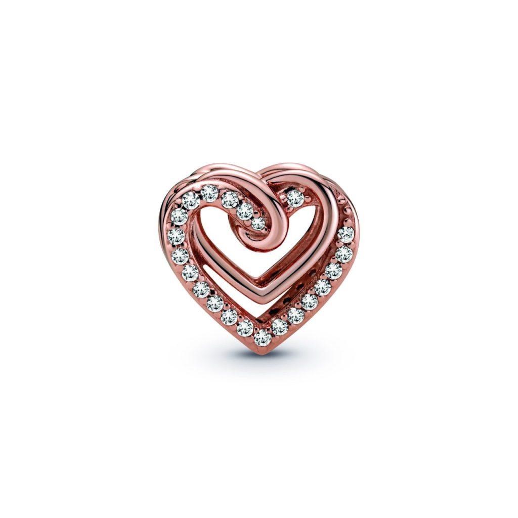Charm de corazones entrelazados