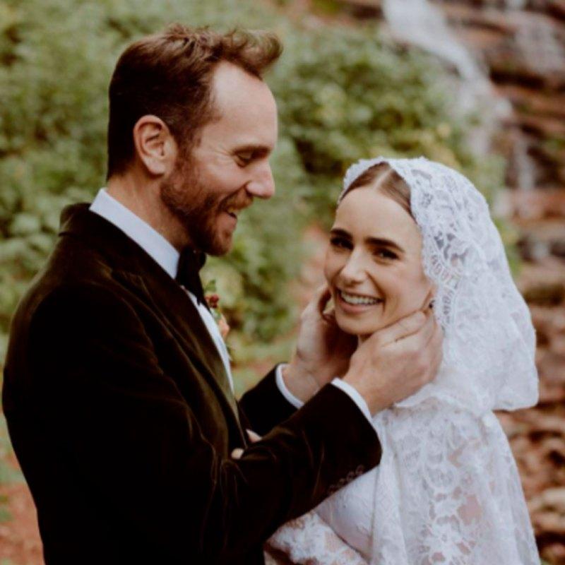 Lily Collins se casó en un vestido Ralph Lauren y nos recuerda a Grace Kelly
