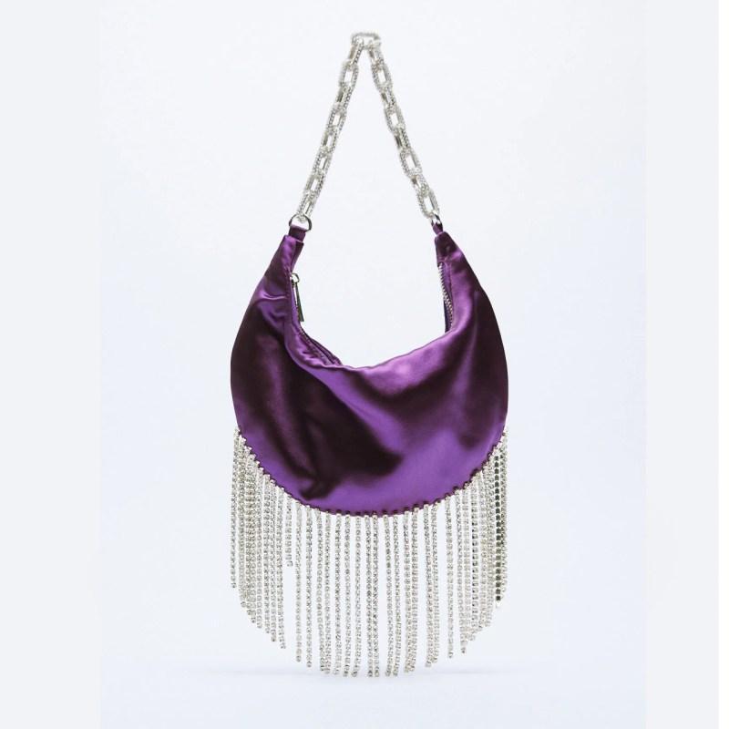 Party bags: bolsa morada de Zara con brillos