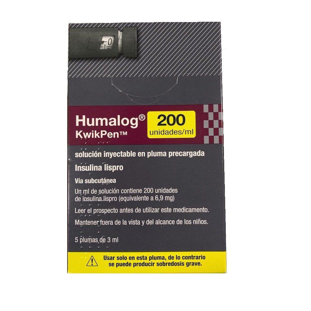 HUMALOG KWIKPEN 200 U/ML 5 PLUMAS 3 ML - Acción ultrarápida