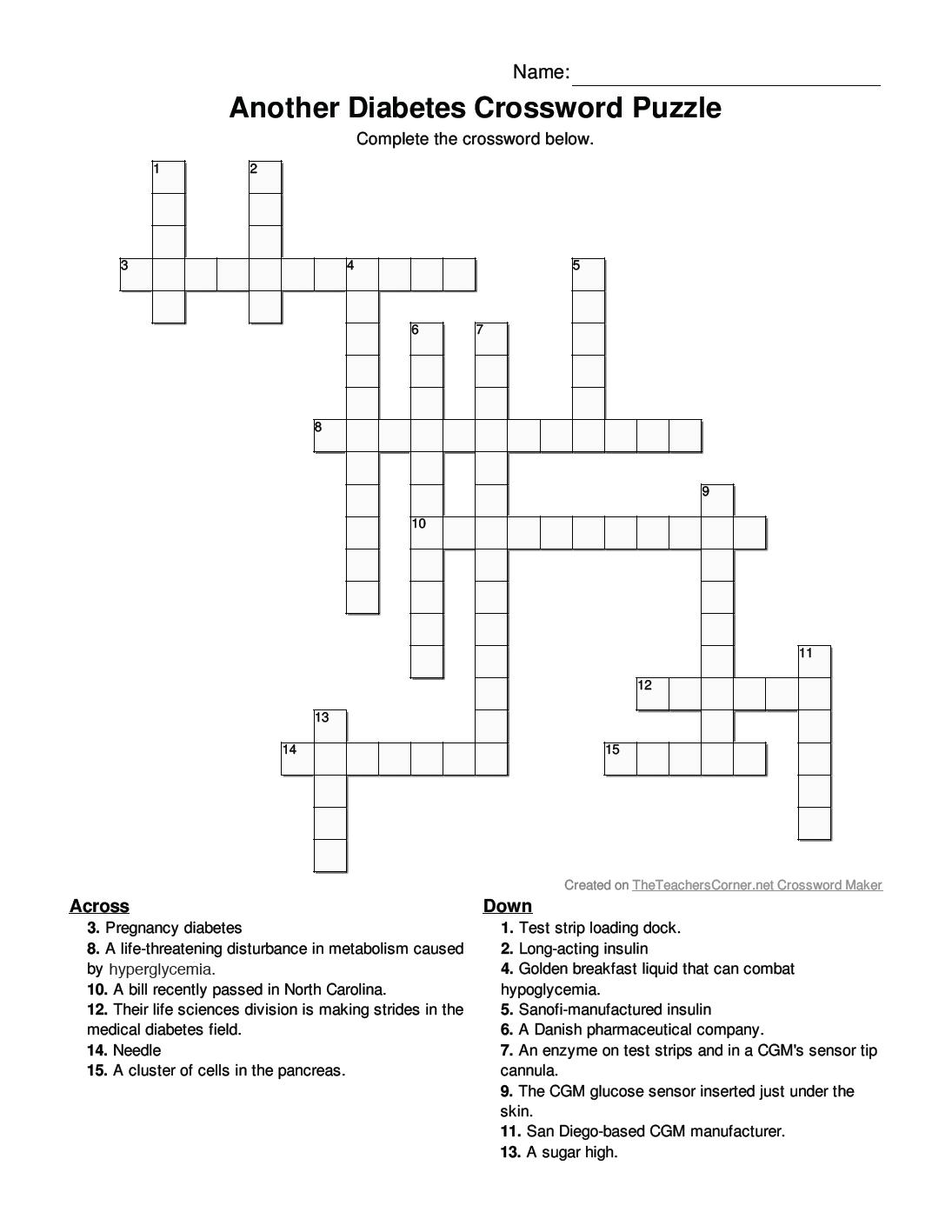 Insulin Nationanother Diabetes Crossword Puzzle