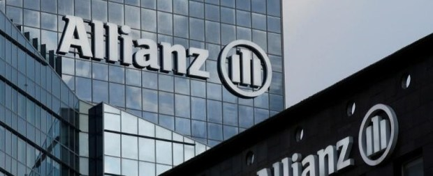 The logo of Europe's biggest insurer Allianz SE is seen on the company tower at La Defense business and financial district in Courbevoie
