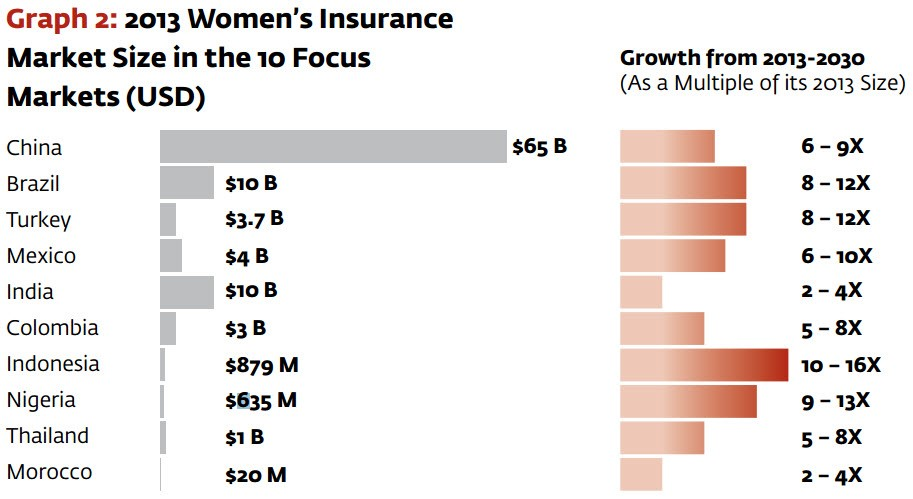 2013 Women's Insurance Market Size i the 10 Focus Markets (USD)