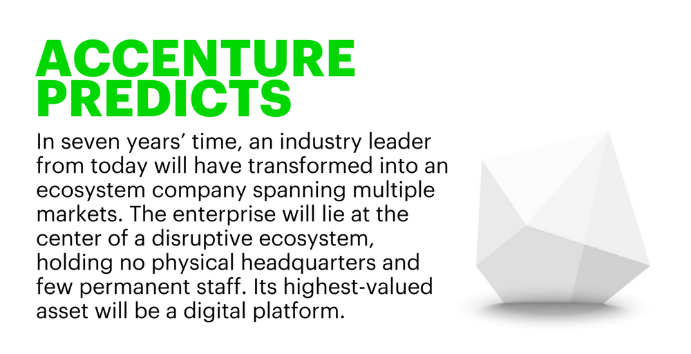 Accenture predicts in seven years time, an industry leader from today will have transformed into an ecosystem company spanning multiple markets. The enterprise will lie at the center of a disruptive ecosystem, holding no physical head quarters and few permanent staff. It's highest-valued asset will be a digital platform.