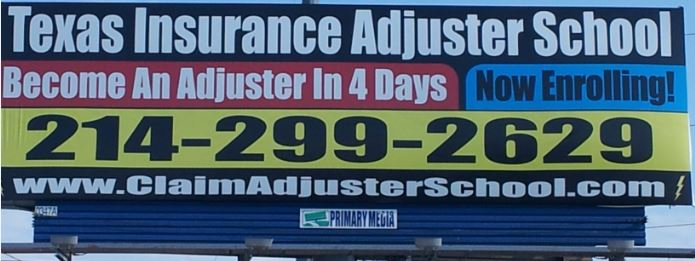 An Actual Sign to Hire Adjusters for Insurance Companies After ONLY 4 DAYS of Training. This is the person you will see when you call in a loss....with four days of training......