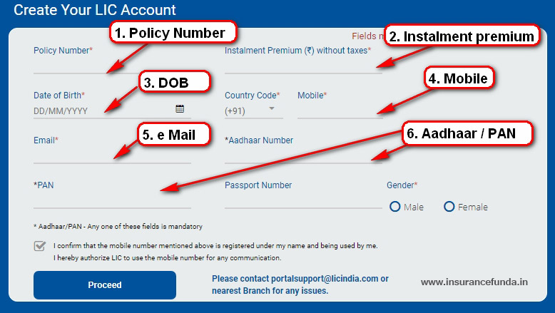 LIC eServices and LIC Premier services New user registration