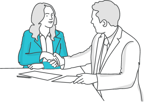 A managment consultant shaking hands with a client after purchasing professional liability insurance.