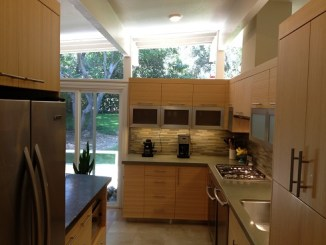 Bamboo kitchen galley, much more efficient.