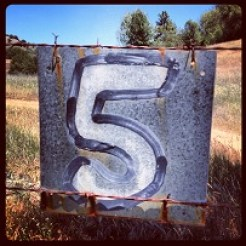 "Hand painted sign ""5"" on barbed wire fence."