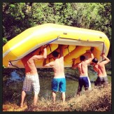 Tossing in the raft on Greenwood Creek.