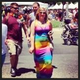 Rainbow dress walking the mall.