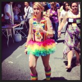 Rainbow tutu and socks at the pride festival.