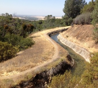 Original course of Spring Valley water canal with Sacramento Central Valley in the back ground.