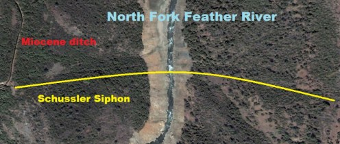 Approximate location of Schussler siphon. Note the lines crossing Feather River and disturbed ravine sides which may have been where the siphon was buried.