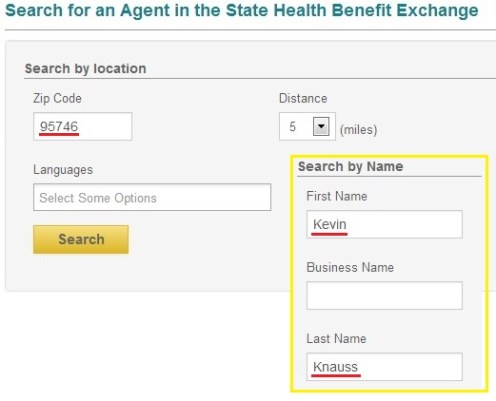 Kevin Knauss doesn't automatically pop up in the search, so you'll have to type it in. 95746 is my real zip code.