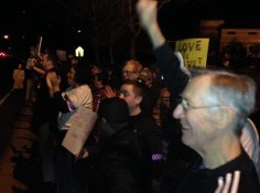 Granite Bay rally supporters wave to honking cars.