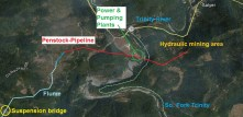 Satellite view of Salyer and Swanson water conveyance for hydraulic mining.