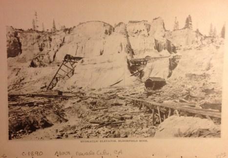 Hydraulic Elevator, Bloomfield Mine, c 1890 above Nevada City.