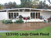 Linda Creek can produce huge amounts of surface drainage water as shown in my backyard from the floods of 2005.