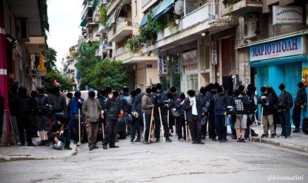 Antifascist social center Distomo guarded Agios Panteleimon square against the organized nazi pogrom
