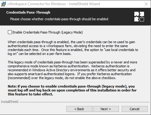 Setting up Credentials Pass-Through when installing Virtual Desktop on Windows PC