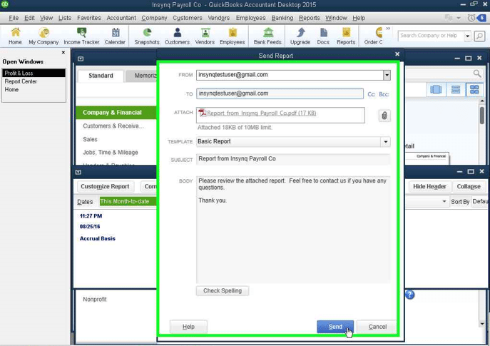 QuickBooks Email Template screenshot
