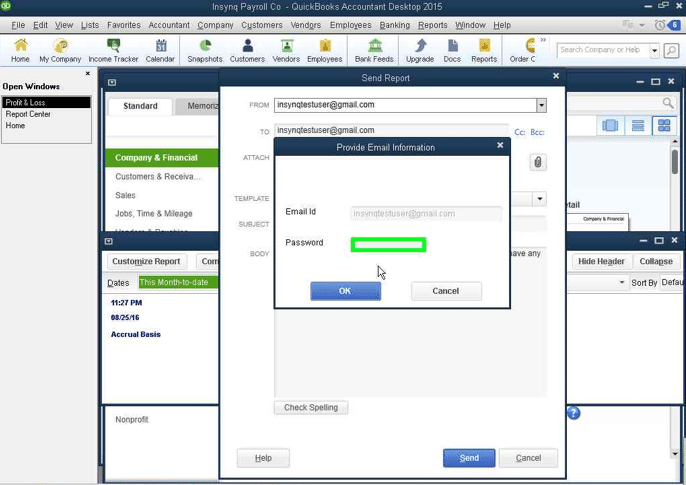 QuickBooks Email Credentials screenshot