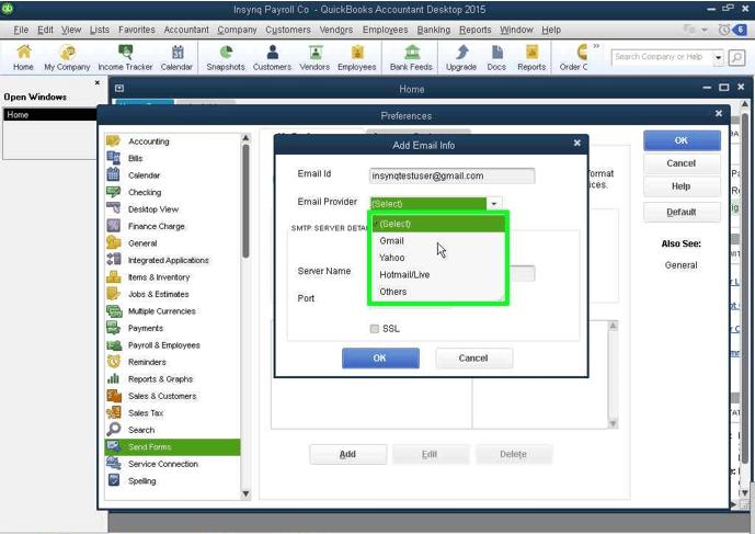 QuickBooks Email: Selecting Email Provider screenshot