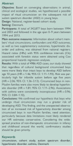 Ritual circumcision and risk of autism spectrum disorder in 0- to 9-year-old boys: national cohort study in Denmark