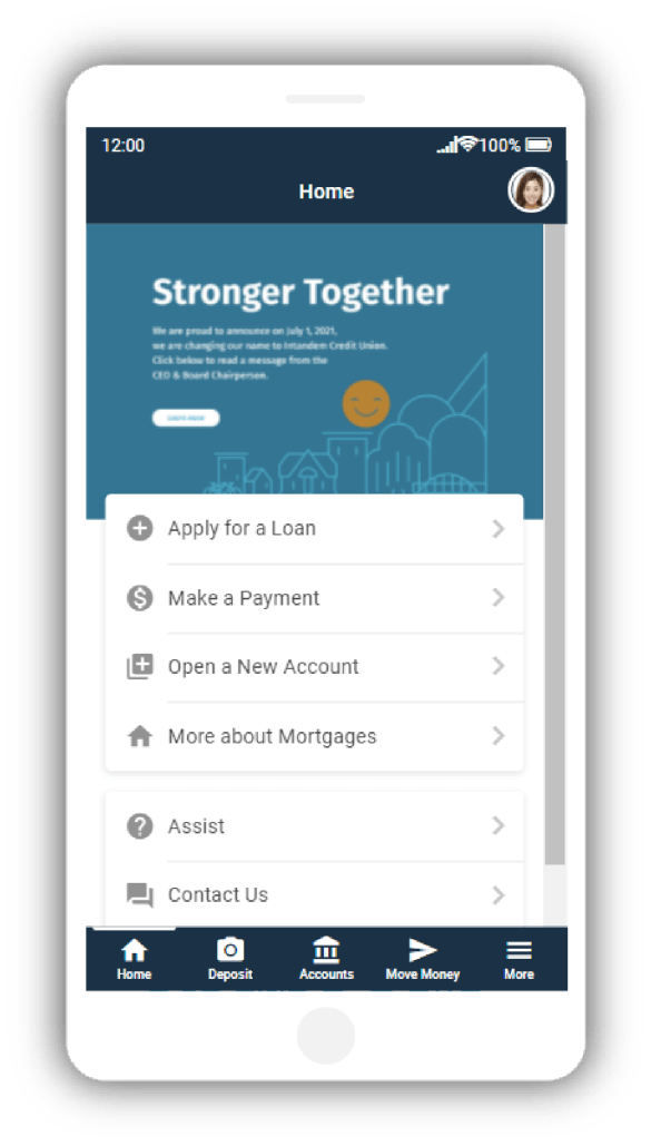 Mobile App Banking Home Screen Image