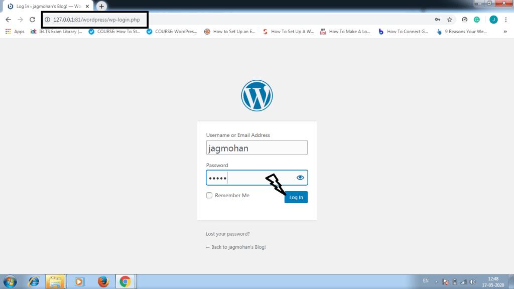 how to install wodpress locally login