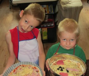 Kuba and Konrad with selfmade pizzas