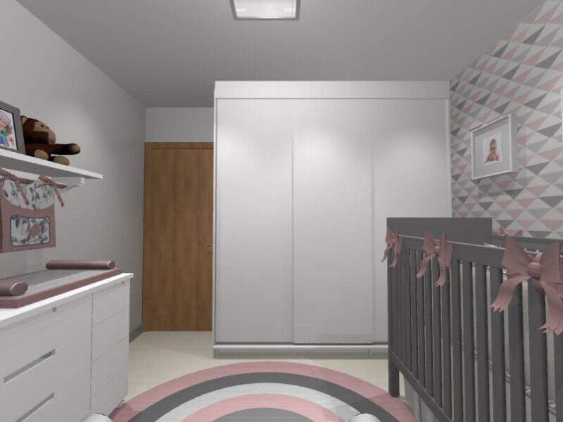 Vista do armário feito sob medida, com portas de correr