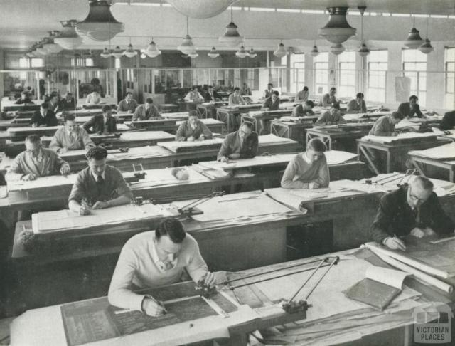 Johns and Waygood Drawing Office 1956