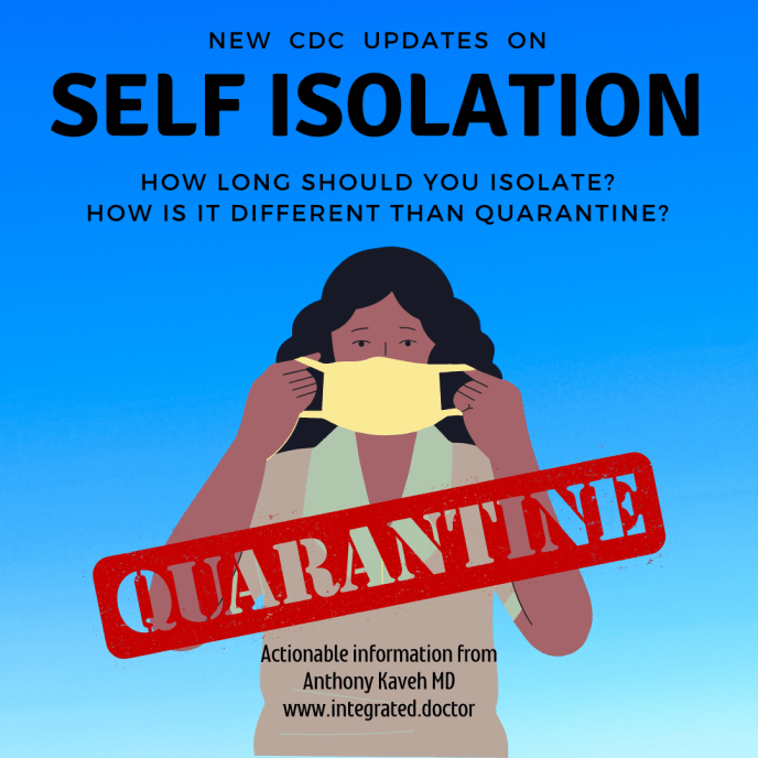 New CDC updates on self isolation. What is self isolation? How is it different than quarantine? What do the latest CDC updates mean for us and how do they protect our health?