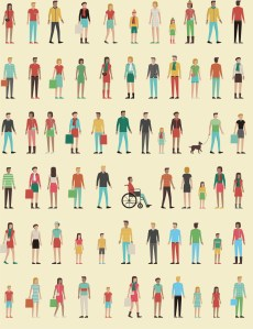 Animated people on a yellow background.