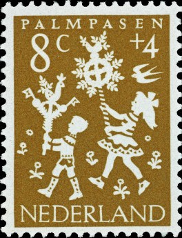 1961 stamp in aid of children's charities, found on www.volksliedjes.overtuin.net